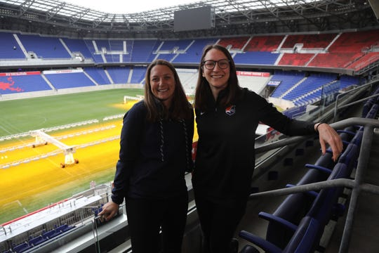 Sky Blue head coach Freya Coombe and general manager Alyse LaHue in their new home, Red Bull Arena in Harrison, NJ on February 18, 2020.