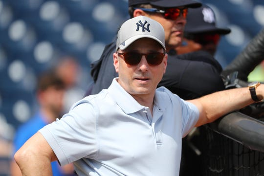 Feb 18, 2020; Tampa, Florida, USA;New York Yankees general manager Brian Cashman during spring training at George M. Steinbrenner Field.