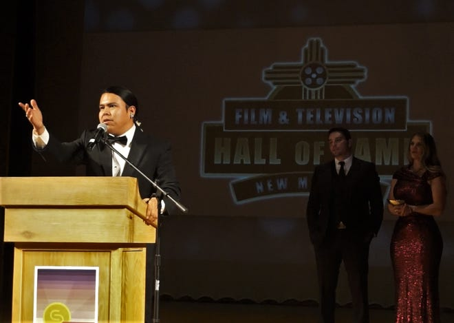 Filmmaker Kody Dayish addresses the crowd Feb. 16 at the Scottish Rite Temple in Santa Fe during an induction ceremony for the New Mexico Film and Television Hall of Fame.