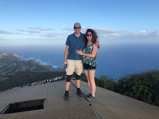 John and Susan Bromley atop a metal structure found on Koko Head, in Oahu, Hawaii on Feb. 3, 2020.
