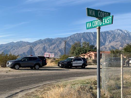 Authorities park on Via Corto Tuesday, Feb. 18, 2020 for a burglary investigation south of Desert Hot Springs. Occupants reported a man was in their kitchen and they said he was cooking breakfast.