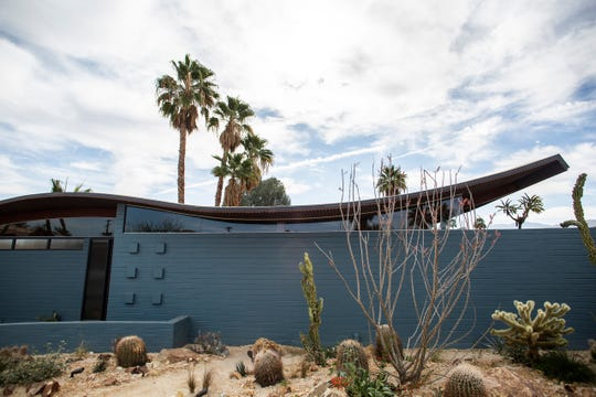 """The Wave House, designed by Walter S. White and known for its patented """"roller-coaster roof,"""" was recently restored to honor its mid-century modern heritage in Palm Desert, Calif., on Feb. 18, 2020."""