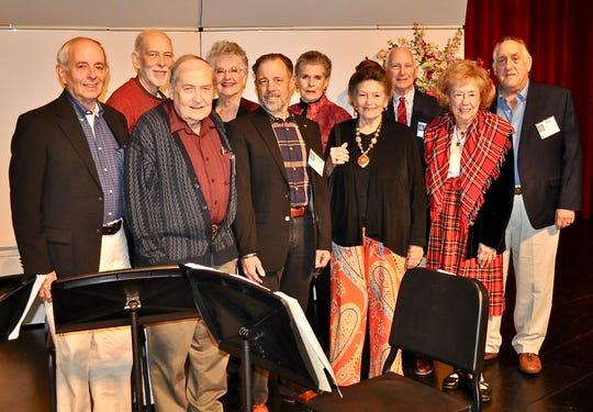 Palm Springs Concerts Board members gather onstage before the show, including Michael Hoffman, Jim Berry, Stan Deller, Marjorie Conley Aikens, Elizabeth Press, John Leonard, Ruth Messenger, Eula Harris, Chris Seidel and Ken LaConde.