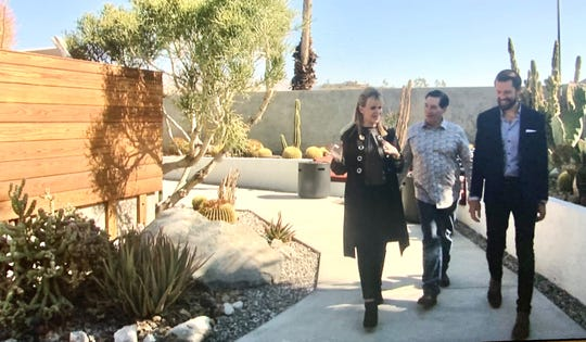 Sandie speaks with Kip Serafin and Danny Heller while on a tour of The Lautner Compound.