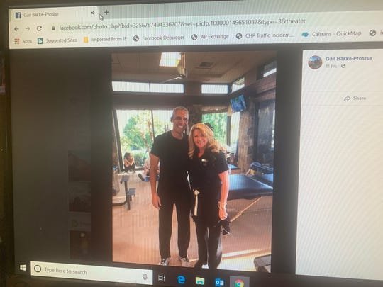 This photo from Palm Desert resident Gail Bakke-Prosise's Facebook page shows her with former President Barack Obama. He was reportedly in Rancho Mirage Monday for Presidents' Day.