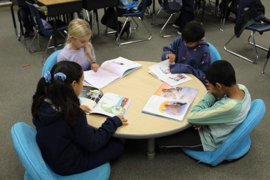 "Second graders in Kathleen Yearwood classroom participate in ""Lefty's Reading Challenge."""