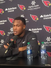 Cardinals' left tackle D.J. Humphries speaks to the media Tuesday, Feb. 18, 2020.