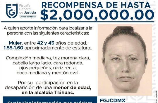 Junto con un mensaje en el que se ofrecen 2 mdp por información, comenzó a difundirse un retrato hablado de la mujer que sustrajo a Fátima; entre 42 y 45 años y tez morena clara.