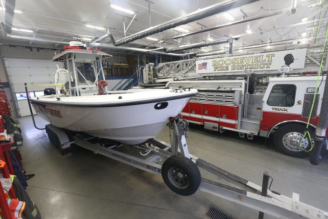 Roosevelt Fire District's recently purchased 2001 Boston Whaler boat formerly owned by the Biloxi Fire Department on February 18, 2020. Since Roosevelt Fire District merged with Staatsburg Fire District in 2018 they have become responsible for 5 miles of the Hudson River.