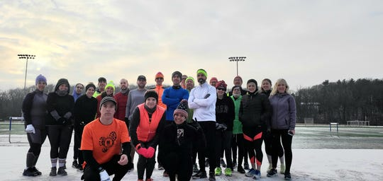 A group of runners pose while testing the first Millbrook Marathon. The run is scheduled for June 7.