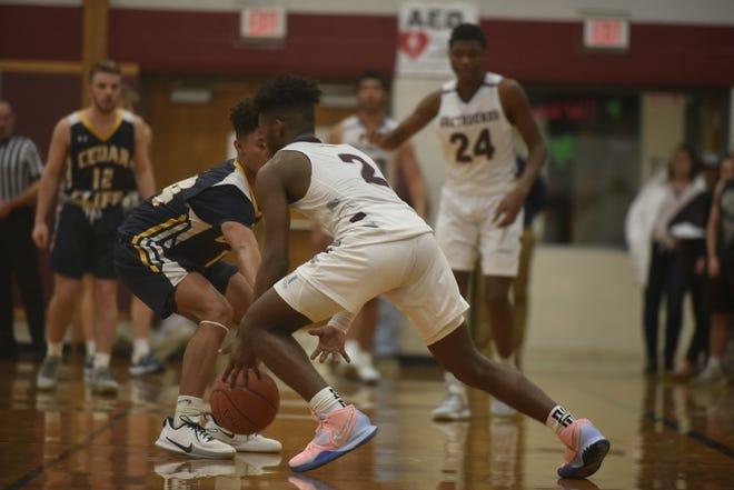 Jayden Statum drives against a Cedar Cliff defender at Shippensburg Area Senior High School on February 17, 2020.