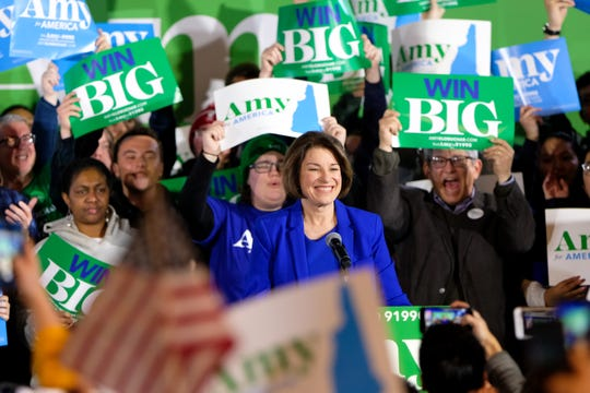Amy Klobuchar celebrates with her supporters in Concord after a strong third-place finish in the New Hampshire Primary. (Preston Ehrler / Echoes Wire/Barcroft Media via Getty Images/TNS)