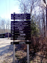 A sign helps visitors find their way around Camp Tuckahoe near Dillsburg.