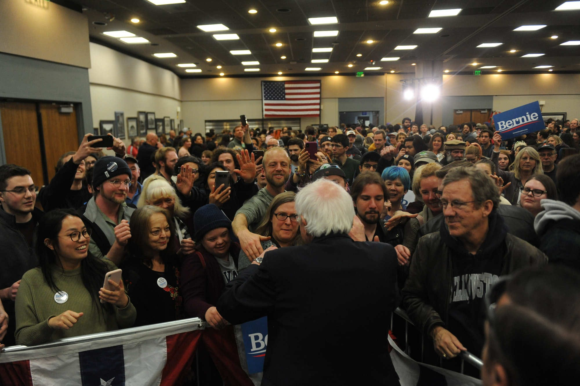 Democratic candidate for president Bernie Sanders campaigns at Lawlor Events Center in Reno on Feb. 18, 2020.