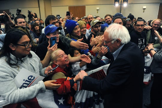 Democratic candidate for president Bernie Sanders greets his supporters after speaking during a campaign event at Lawlor Events Center in Reno on Feb. 18, 2020.