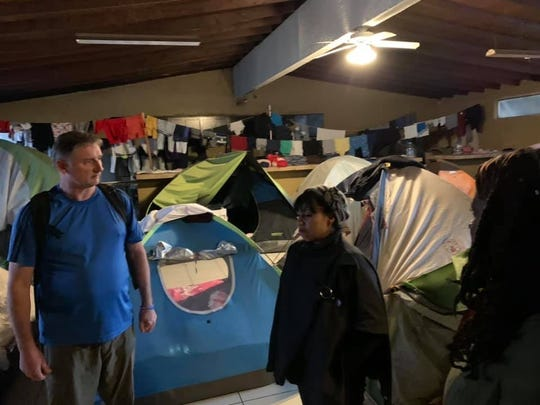 One of the tent cities that have opened to help house migrants with no place to go at the border.
