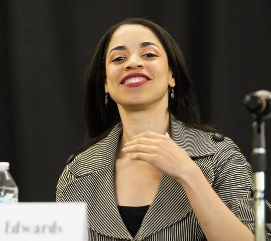 "Amanda Edwards, a Democratic candidate for U.S. Senate, speaks during a candidate forum at the Green House International Church on Jan. 11 in Houston. She calls herself a ""pro-growth Democrat."""