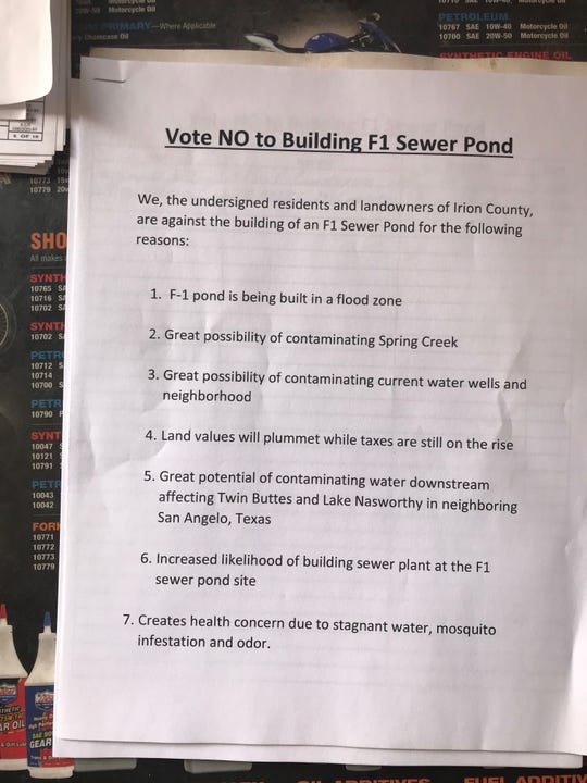 Residents passed a petition to halt progress of a new effluent pond in the East Ward neighborhood in Mertzon.