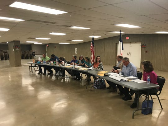 City of Mertzon officials assemble before a special meeting at the Community Center on Feb. 18, 2020, to discuss the a major wastewater project, which many attendees said they had never heard of. Officials say they were under order from the State to conform now or else.