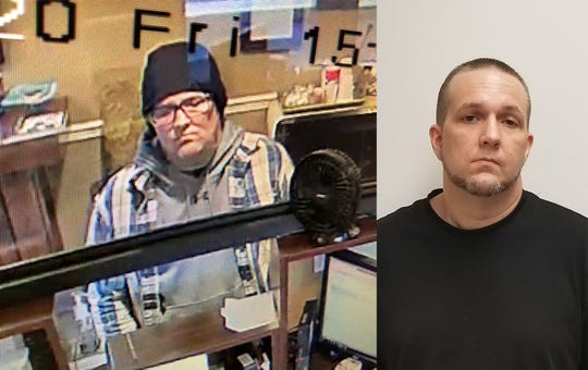 (Left) A still image captured from surveillance footage shows the suspect who robbed a Hebron Savings Bank in Salisbury, Maryland on Friday, Jan. 31, 2020. (Right) Michael Christopher Baumann is the man charged with armed robbery in that investigation.