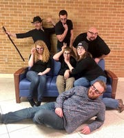 """The cast of """"The Nerd,"""" by the Sheboygan Theatre Company. Back row (left to right): Duncan Doherty, Michael Scott, Daniel Hennell. Middle row: Emily Costa, Logan Winter, Kim Koeppen. Bottom: Timmy Wiverstad."""