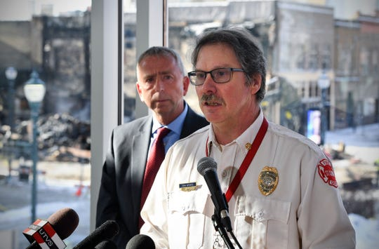 St. Cloud Fire Chief Dean Wrobbel speaks during a press conference on the Press Bar fire Tuesday, Feb, 18, 2020, in St. Cloud.