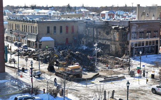 Rubble is all that remains of the Press Bar at the corner of Fifth Avenue and St. Germain Street Tuesday, Feb. 18, 2020, in St. Cloud.