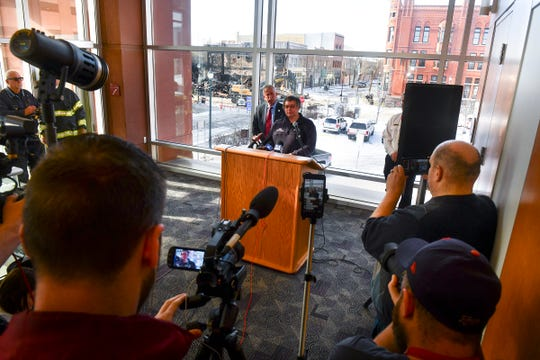 St. Cloud Fire Marshal Mike Post speaks during a press conference on the Press Bar fire Tuesday, Feb. 18, 2020, in St. Cloud.