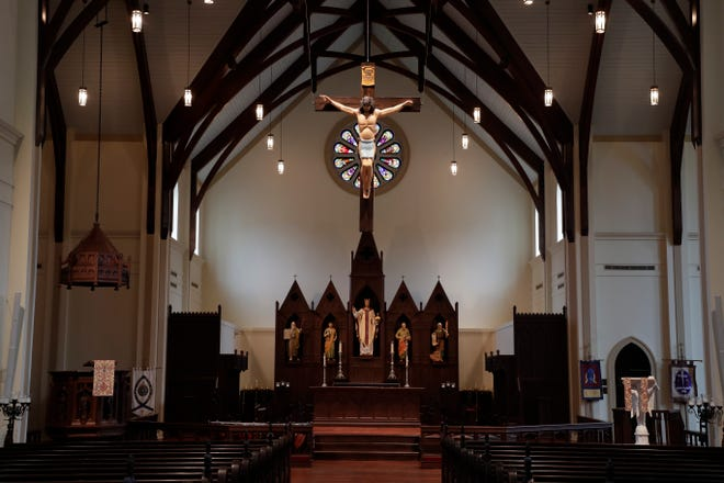 St. Peter's Cathedral in Tallahassee. Services have moved to online streaming for Easter.