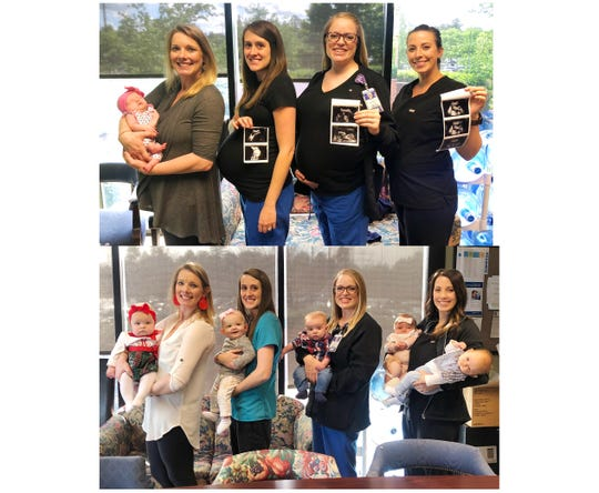 Above: Celeste Sitton, left, with her daughter Reagan Sitton, stands with coworkers Emily Straub, Amanda Goodman, and Morgan Crisp as they hold photos for their ultrasounds. 