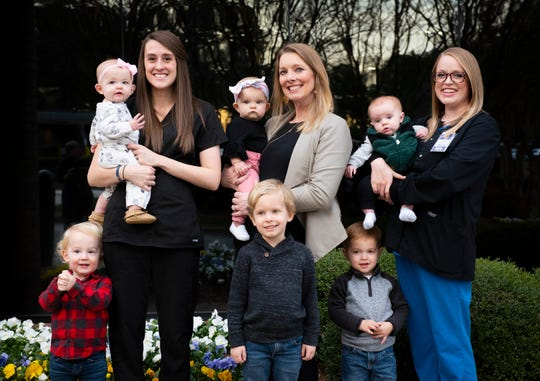 Pictured left is Emily Straub with 8-month-old Raelynn Straub and 2-year-old Wyatt Straub. Middle is Celeste Sitton with 9-month-old Reagan Sitton and 5-year-old Landon Sitton. Right is Amanda Goodman with 3-month-old Griffin Goodman and 3-year-old Grant Goodman.
