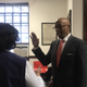 William Holmes takes the oath of office as deputy city clerk of Mount Vernon from City Council President Lisa Copeland on Feb. 18, 2020.