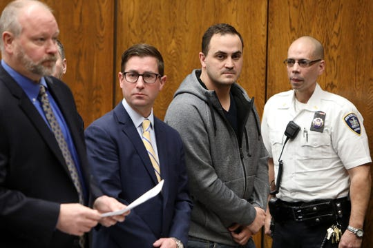 Peekskill police officer Michael Agovino appears in court for charges on sexually abusing a woman who has a learning disability, Feb. 18, 2020 in Peekskill. The 33-year-old Orangetown resident posted $100,000 bond.