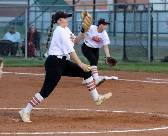 Burkburnett's Jocelyn Bright pitches against Holliday Monday, Feb. 17, 2020 in Burkburnett.