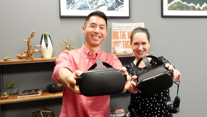 Facebook's Sean Liu and Meaghan Fitzgerald with Oculus Quest headsets, at Facebook headquarters in Menlo Park