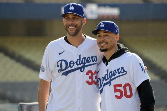 David Price and Mookie Betts were introduced at Dodger Stadium on Feb. 12.