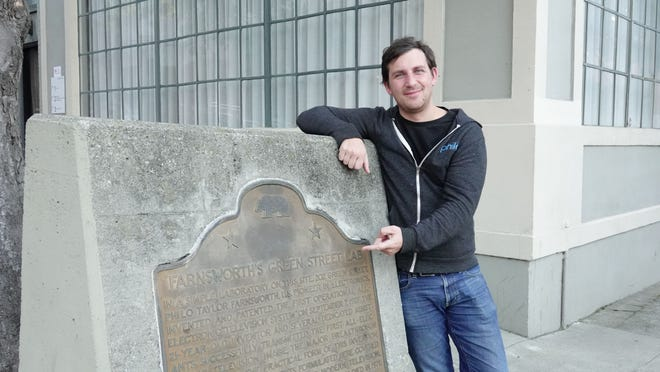 Philo TV's CEO Andrew McCollum by a San Francisco plaque honoring Philo Farnsworth, one of the earliest investors of television.