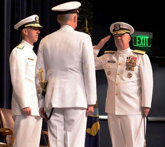 Rear Adm. Jeffrey A. Harley, right, relieved Rear Adm. P. Garden Howe III to become the 56th president of the U.S. Naval War College.