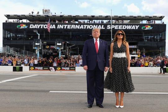 President Donald Trump and first lady Melania Trump at the 62nd Annual Daytona 500 at Daytona International Speedway on Feb. 16, 2020 in Daytona Beach, Fla.