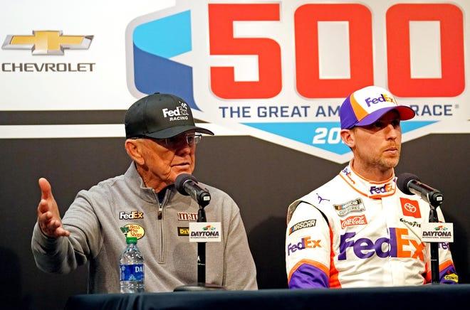 Joe Gibbs and Denny Hamlin speak with the media after the Daytona 500.