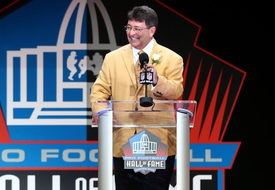 Former San Francisco 49ers owner Edward J. DeBartolo Jr. gives his acceptance speech during the 2016 NFL Hall of Fame enshrinement at Tom Benson Hall of Fame Stadium on Aug. 6, 2016.