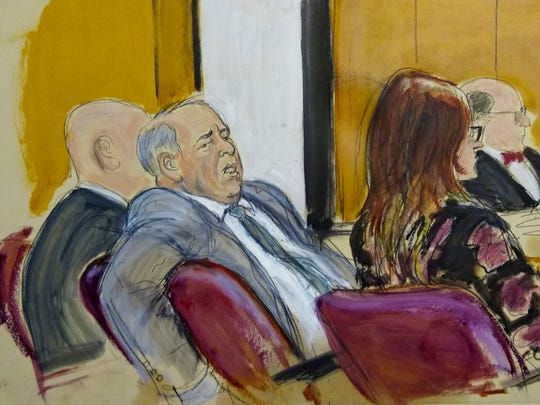 In this courtroom sketch, Harvey Weinstein sits in a Manhattan court room as the judge instructs the jurors before they begin deliberating on charges he faces in his sex-crimes trial, Feb. 18, 2020, in New York.