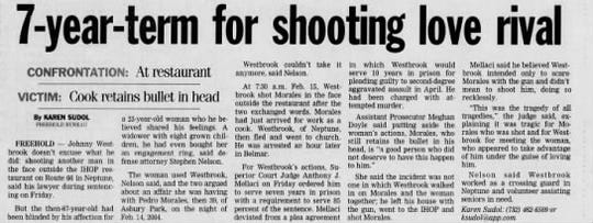 Asbury Park Press news article on July 6, 2005 about Johnny Westbrook's sentencing for shooting a romantic rival