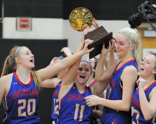 Graham senior Claire Jones (11) lifts the team's trophy following a win over Sweetwater in a Region I-4A bi-district playoff Tuesday, Feb. 18, 2020, at Clyde High School.