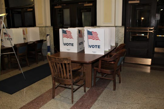 Polling stations were already set up in City Hall outside the clerk's office on February 18, 2020.