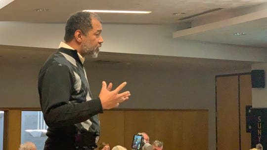 Michael Vasquez, 51, Binghamton airs his concerns at the Public Voice forum at SUNY Broome on Tuesday night.