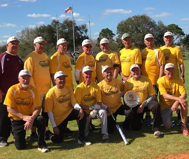 "The Slug-A-Bug 65's Senior Softball won the SSUSA ""Tournament of Champions"" Mens 65 ""Major"" Division on Feb. 9. They are, back row from left, Jerry Piester, Hugh Mitchell, Tom Dempsey, Terry Vervynck, Paul ""Shadow"" Uzialko, Matt Matson, Nick Nicometo and Rick Harder; front row: David White, Ray Mazara, Joe Pavlock, John Martellucci, Frank Straub and Dave Carden ."