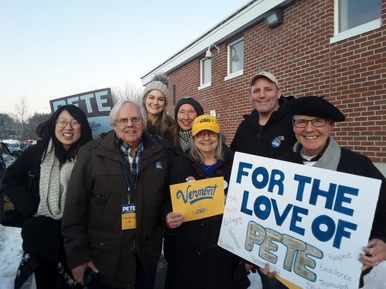 """Volunteers from """"Vermont for Pete"""" travelled to Lebanon, NH on Feb. 8 to canvass and attend a campaign rally for the former South Bend, IN mayor."""