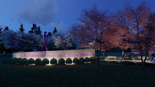 A rendering shows a nighttime view of the planned Remembrance and Hope Memorial in Gloucester Township.