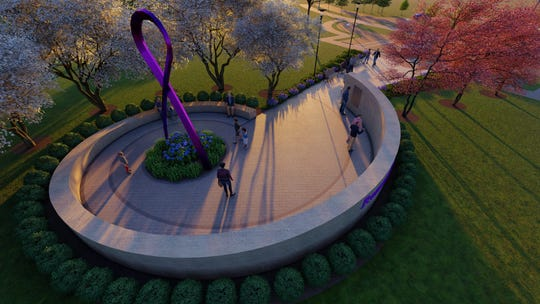A rendering shows the memorial planned for Timber Creek Park honoring those lost to addiction and overdoses.